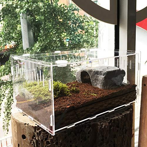 Vinnykud Mini Terrarium Transportbox,Reptil Fütterungsbox aus Acryl, Tragbarer Reptilienzuchtbox...