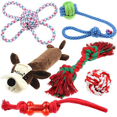 Well Love Hundespielzeug-Set, Kauspielzeug, 100 % natürliches Baumwollseil, Quietschspielzeug,...