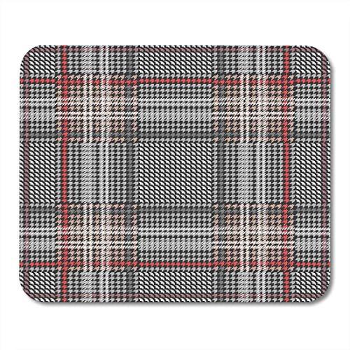 Mauspads klassischer karierter hundezahn mit roten streifen für anzüge und mäntel mit grauer geometrie...