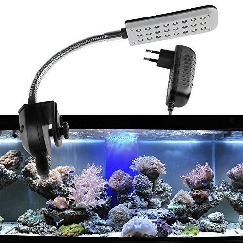 ONEVER Aquarium Klemme Licht Fisch Tank Lampe, 2 Modus Blau und Weiß, 1.5W 24 Led mit EU Plug