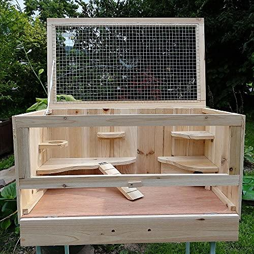 HUIJK Käfig aus Holz Hamsterkäfig Mäusekäfig Rattenkäfig Nagerstall Gehege