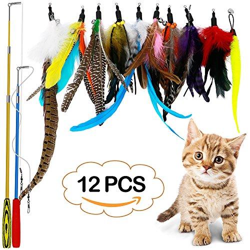 LlorenteRM Katzenspielzeug, interaktives Feder-Teaser mit 2 Stangen, 10 Befestigungen, Wurmvögel, Federn...
