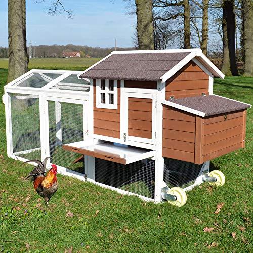 Große Hühnervoliere Mobi - mit Rollen zum leichten Umstellen - Hühnerstall aus massivem Vollholz und...