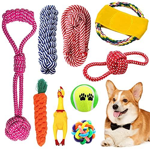 BOZHZO Hundespielzeug Set, Welpenspielzeug Hund unzerstörbar für Zahnreinigung Geeignet, Hergestellt...