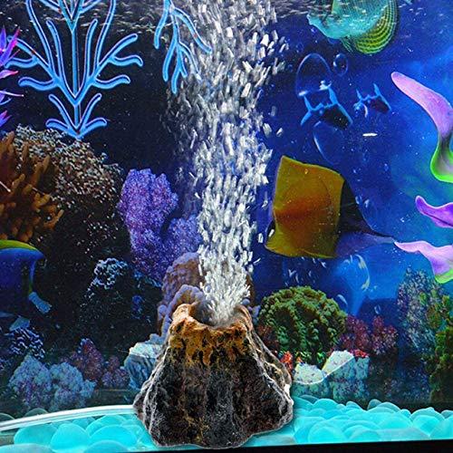 Abnaok Vulkan Aquarium Dekoration, Aquarium Sprudler Aquarium Zubehoer Deko mit Luftblase Stein for Fisch...