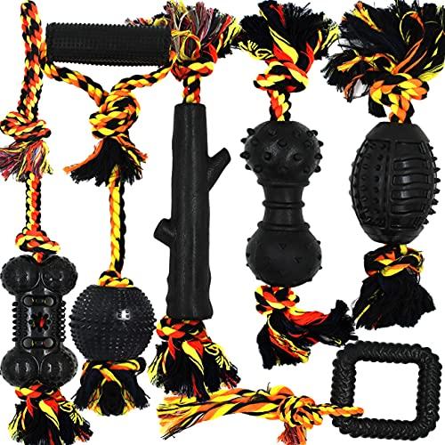 Yipetor Langlebiges Hundespielzeug Gummiball Seil Set,6 Stück Natürliche Baumwolle Interaktives...