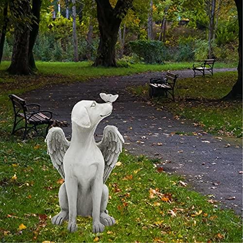 fuguzhu Engel Hund Statue Imit Engelsflügeln Grabschmuck Grabfiguren Harz und Stein Dekorative Garten...