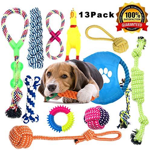 Anwin Hundespielzeug 13pcs Kauspielzeug Interaktives Spielzeug Set Intelligenz Hundeseile Spielset Seil...