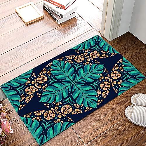 OPLJ Kreatives Design Mandala Blumenblatt Tropische Pflanze Fußmatte Küchenboden Badezimmer Eingang...